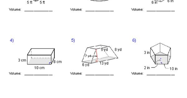 Prisms and Cylinders Volume Worksheets | Math-Aids.Com ...