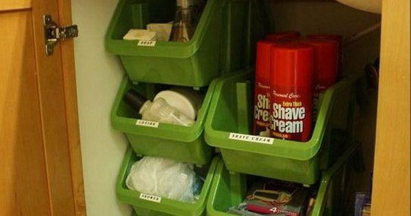 Creative Under Sink Storage Ideas Plastic Bins Bathroom