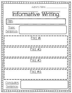 First Grade Informational Writing Organizer Second Grade Writing