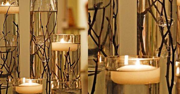 Centro Garden Water Candles - water, branches and flosting candles in cylindrical