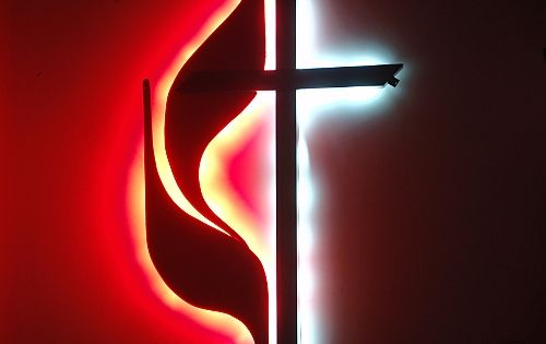 United Methodist Cross Amp Flame Logo Sign With White Amp Red