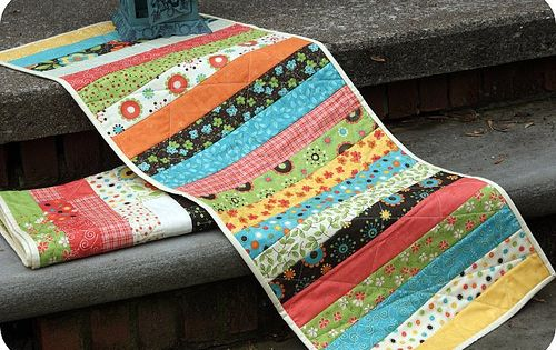 table runner with fabric scraps - want to try this, but with