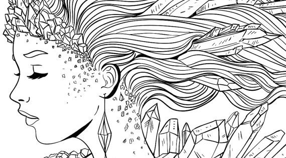 Adult Coloring Page Fantasy Crystal Line Art Coloring