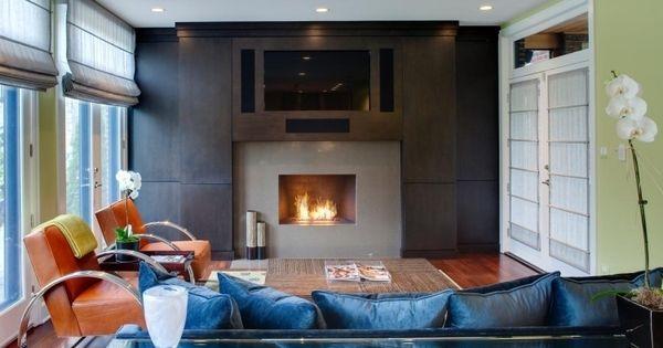Nach Feng Shui Wohnzimmer Einrichten Braun Leder Sessel Couch Blau Samt Kaminoffen Orchidee