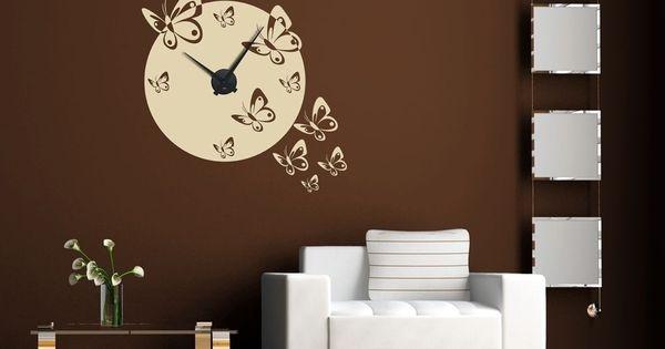 Sticker mural horloge murale essaim de papillon pour votre for Decoration murale wish