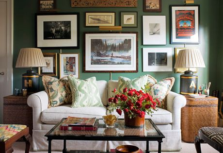 green gallery wall study i remember loving this spread in house beautiful