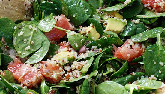 Spinach and Quinoa Salad with Grapefruit and Avocado delicious Amazing healthy_food health