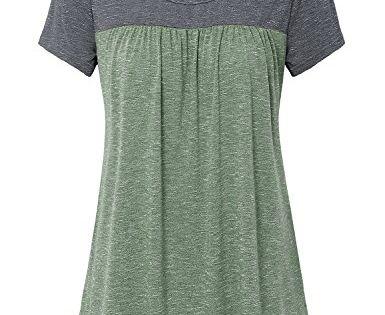 Vinmatto Womens Summer Short Sleeve V Neck Flowy Tunic Top