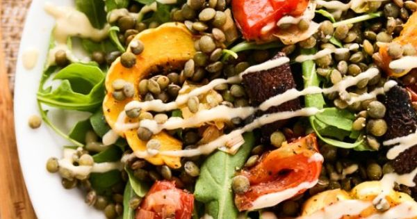 Roasted vegetable salad, French lentils and Tahini dressing on ...