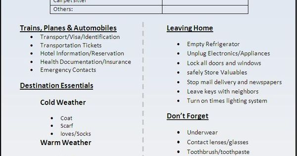 Travel-List-Templatejpg (702×937) Cleaning Tips Pinterest - sample travel checklist