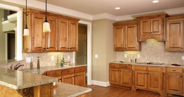 Picture of kitchen paint colors with oak cabinets and for Proper kitchen layout
