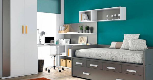 Gris y turquesa buena combinaci n habitaciones for Cama individual con cajones