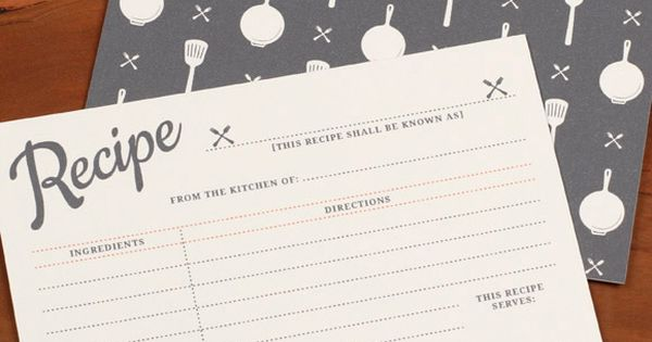 Free downloadable & printable recipe card template