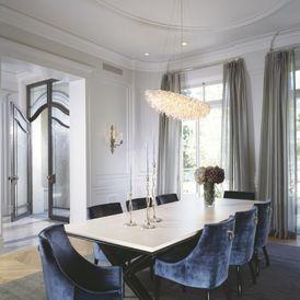 Dining Room Using Dramatic Sheers Luxury Dining Room Grey Dining Room Dining Room Blue