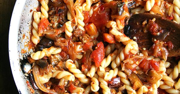 pasta with Eggplant, Tomato and Caramelized Onions