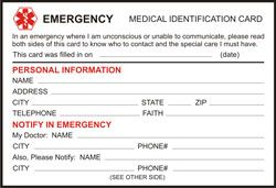 Emergency Id Card Templates Free Medical Information Emergency Medical Medical Printables