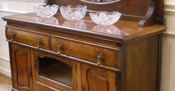Antique English Walnut Art Nouveau Mirror Back Sideboard