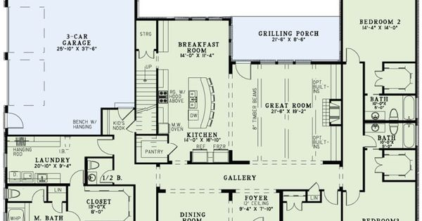 Main floor plan plan 17 2497 also has a bonus room upstairs house plans - House plans with bonus rooms upstairs ...
