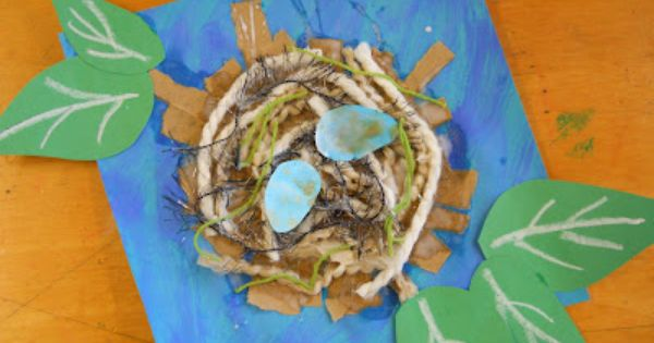 like the mixed media nest, nix the leaves and make 3-D eggs