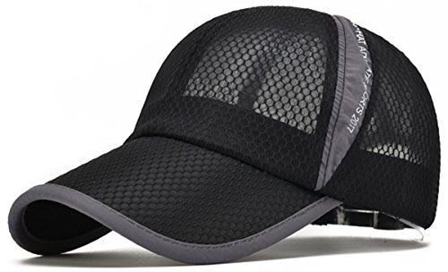 Ellewin Unisex Black Hiking Cap Breathable Quick Dry Mesh Baseball Cap Sun Hat Baseball Hats Mens Caps Baseball Cap