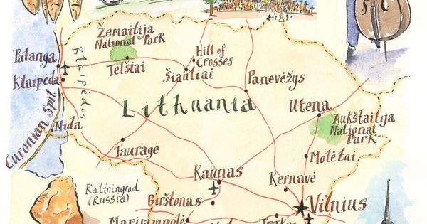 Lithuania Map by Michael A Hill I had chosen this illustrated map