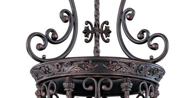 Open Scroll Foyer Chandelier : French scroll quot high three light iron foyer chandelier