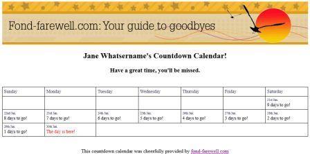 Make A Farewell Retirement Countdown Calendar To Print Out