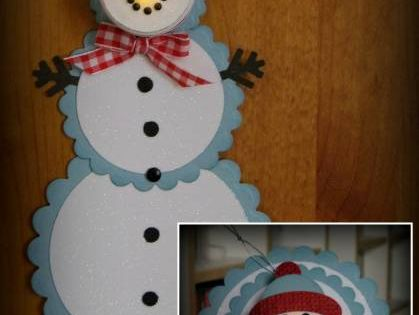 Christmas Card Idea~ snowman tea light telescoping card