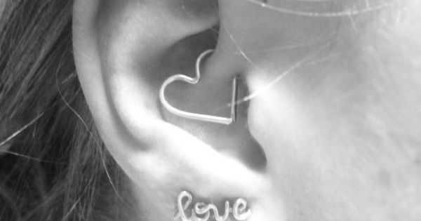 Heart rook Earring Ear Heart Jewelry Daith Rook by wirewrap -- seriously