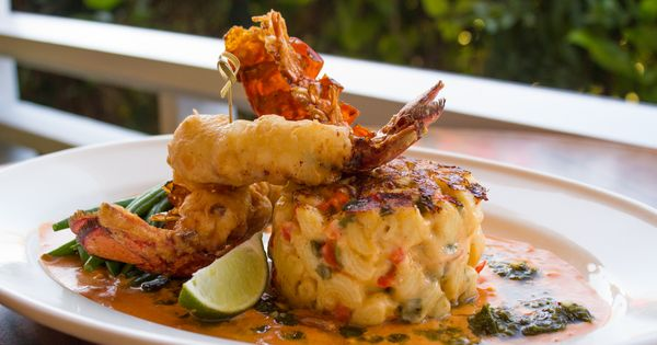 Caribbean-Style Lobster Mac & Cheese- Lightly fried lobster tail with griddled Bahamian mac ...