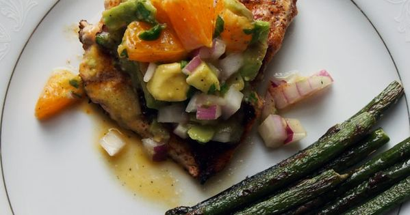 Citrus Mahi Mahi with Avocado Salsa and grilled veggies