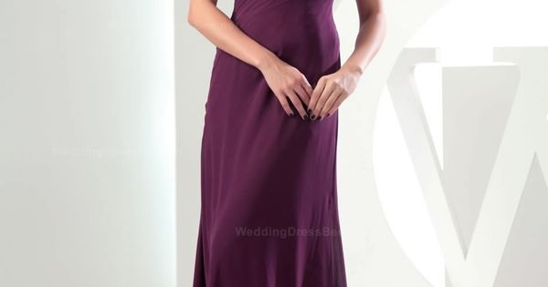 One-shoulder ruched top floor length chiffon dress. Pretty bridesmaids dresses