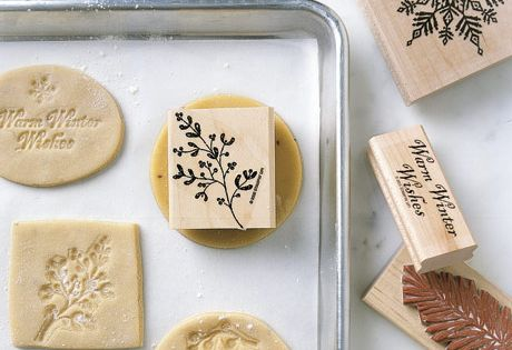 Sugar cookies pressed with rubber stamps...why have I never thought of this!