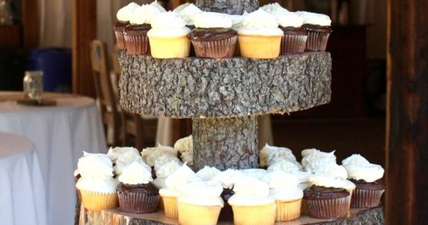 Vintage Barn Wedding, cake and cupcake stand made by the bride and groom