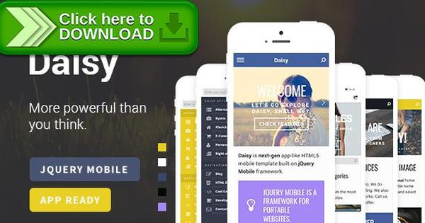 Free nulled Daisy Mobile Web  App Template - spreadsheet free download for mobile