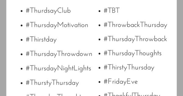 Thirsty for Thursday Hashtags? We have you covered! # ...