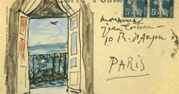 A postcard from Pablo Picasso to Jean Cocteau in 1919 Mail Art