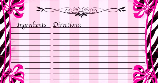 free recipe card template