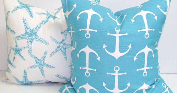 strand dekor kissen nautische kissenbez ge blaue wurfkissen blau kissen cover starfish kissen. Black Bedroom Furniture Sets. Home Design Ideas
