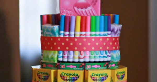 School supply cake! This is a cute idea for teacher appreciation gifts.