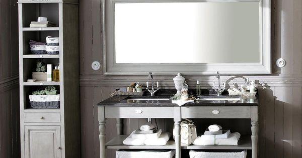 Meuble double vasque salle de bain saint r my salle de bain chalet pinter - Salle de bain de campagne ...