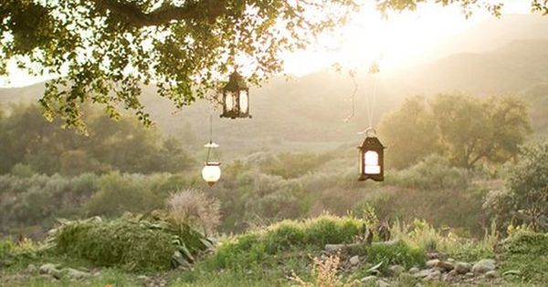 fairytale, cottage picnic table complete with hanging lanterns; for my future/dream backyard