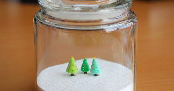 "joojoo: polymer clay Christmas trees in a sea salt ""terrarium"" - clay"