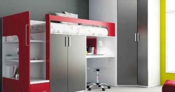 Moderno camarote juvenil con escritorio cajon 2 closet y - Habitaciones juveniles modernas ...