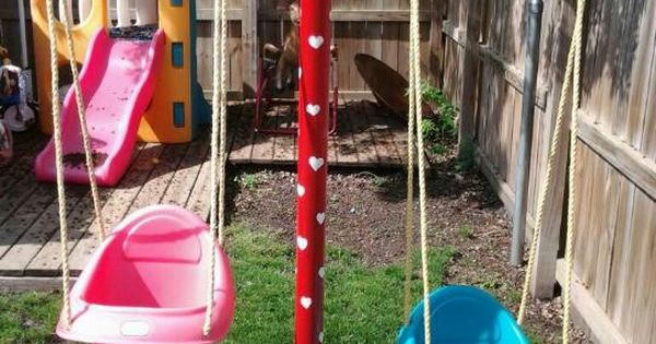 Swing Set Made Out Of Clothesline Poles Yard Decor