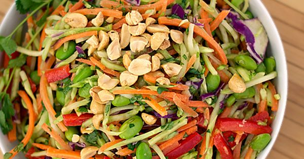 Rainbow Asian Slaw w/ Spicy Peanut Dressing