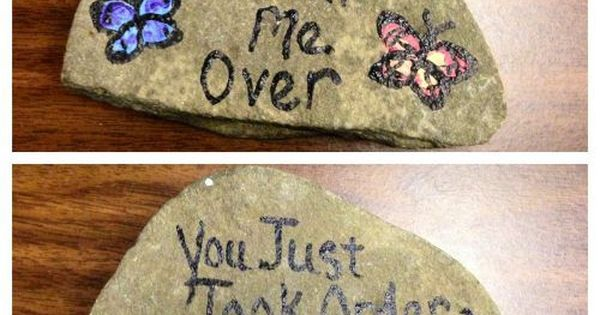 Garden humor - painted rock