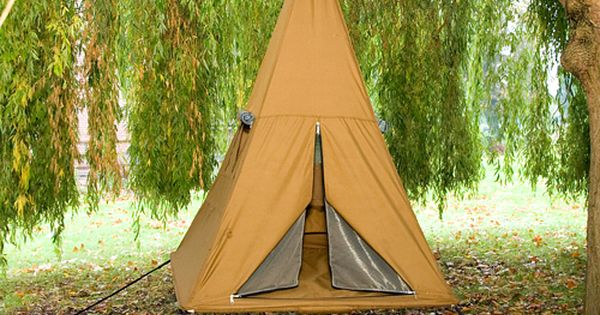 Hanging TreePee camping tent. Backyard