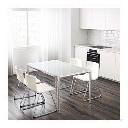 Torsby Table Chrome Verre Blanc 135x85 Cm Table A Manger