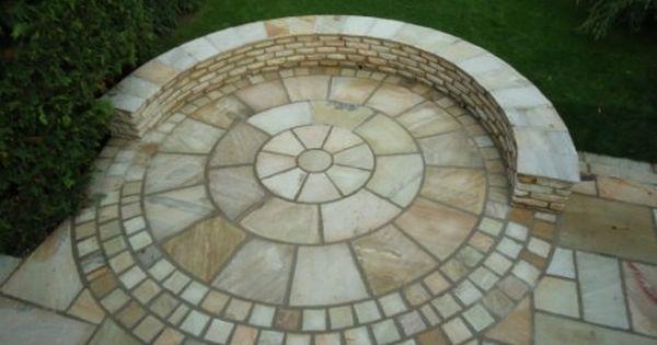 great brick patio, nice alternating pattern and transition around ... - Patio Paving Ideas
